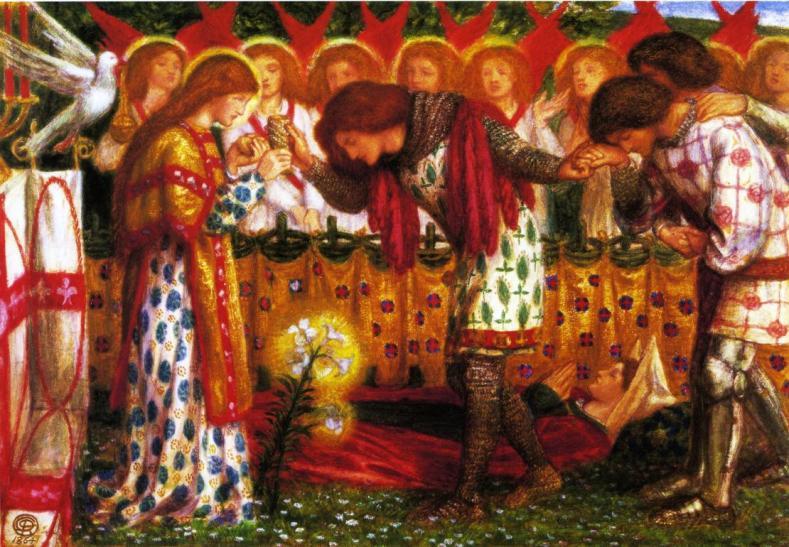 How_Sir_Galahad_Sir_Bors_and_Sir_Percival_were_fed_with_the_Sanc_Grael_Dante_Gabriel_Rossetti