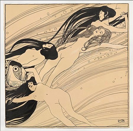 Gustav_Klimt,_Fishblood,_1898._India_ink_and_pen_on_brown_paper._40_x_40.3_cm_courtesy_Galerie_St._Etienne,_New_York.