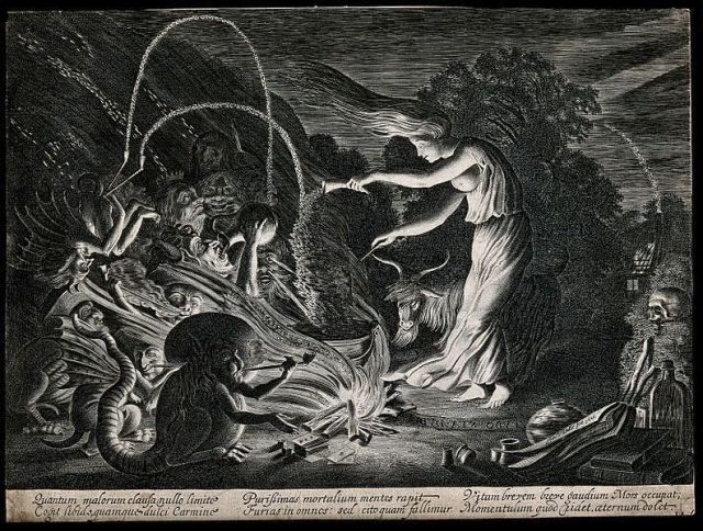 A_witch_at_her_cauldron_surrounded_by_beasts._Etching_by_J._Wellcome_V0025851.jpg